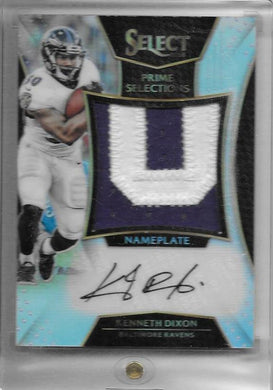 Kenneth Dixon, Prime Selections Nameplate, 2016 Panini NFL Select Football
