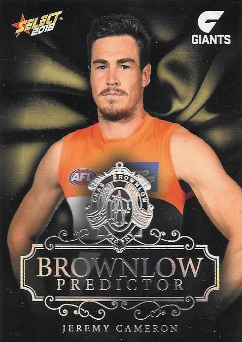 Jeremy Cameron, Platinum Brownlow Predictor, 2018 Select AFL Footy Stars