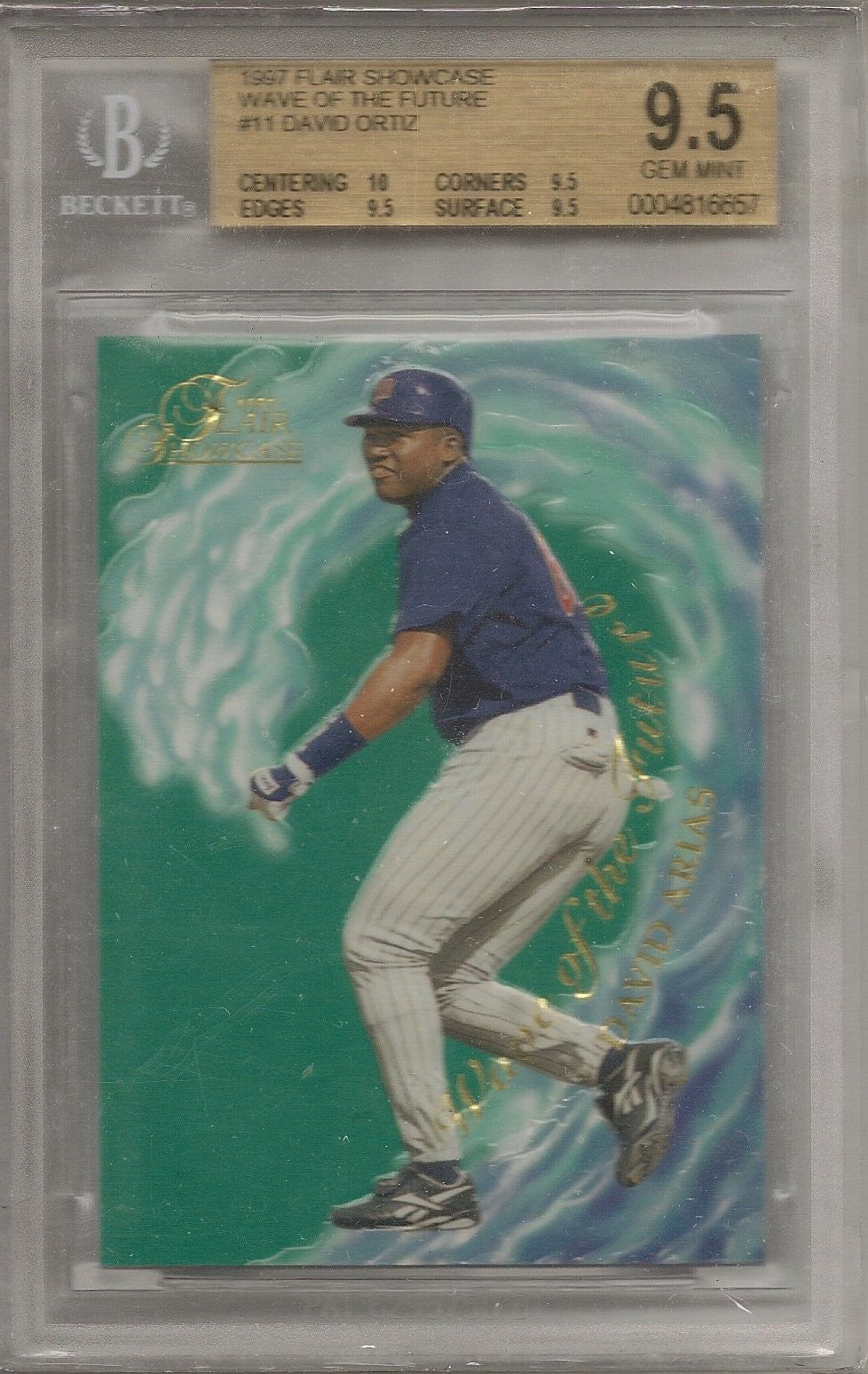David Ortiz, Wave of the Future, 1997 Flair Showcase, BGS 9.5