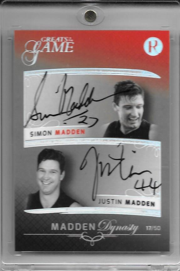 Simon & Justin Madden, Dynasty Dual Signature, 2018 Regal Football Greats of the Game