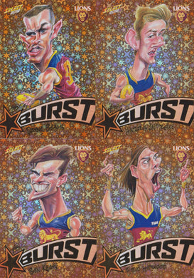 Brisbane Lions, Starburst Orange Caricatures Team Set, 2018 Select AFL Footy Stars