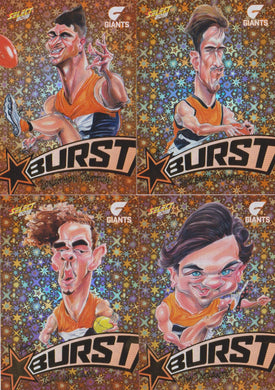 GWS Giants, Starburst Orange Caricatures Team Set, 2018 Select AFL Footy Stars