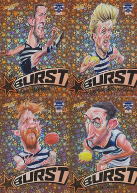Geelong Cats, Starburst Orange Caricatures Team Set, 2018 Select AFL Footy Stars
