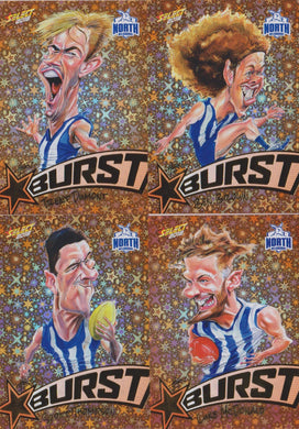 North Melbourne Kangaroos, Starburst Orange Caricatures Team Set, 2018 Select AFL Footy Stars