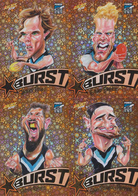 Port Adelaide Power, Starburst Orange Caricatures Team Set, 2018 Select AFL Footy Stars