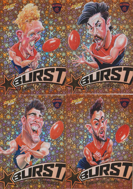 Melbourne Demons, Starburst Orange Caricatures Team Set, 2018 Select AFL Footy Stars