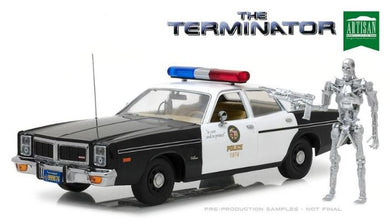 The Terminator - 1977 Dodge Monaco Metropolitan Police with T-800 Endoskeleton Figure, 1:18 Diecast Vehicle