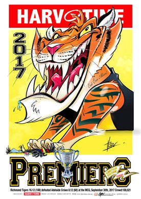 Richmond Tigers 2017 AFL Premiers, Harv Time Poster