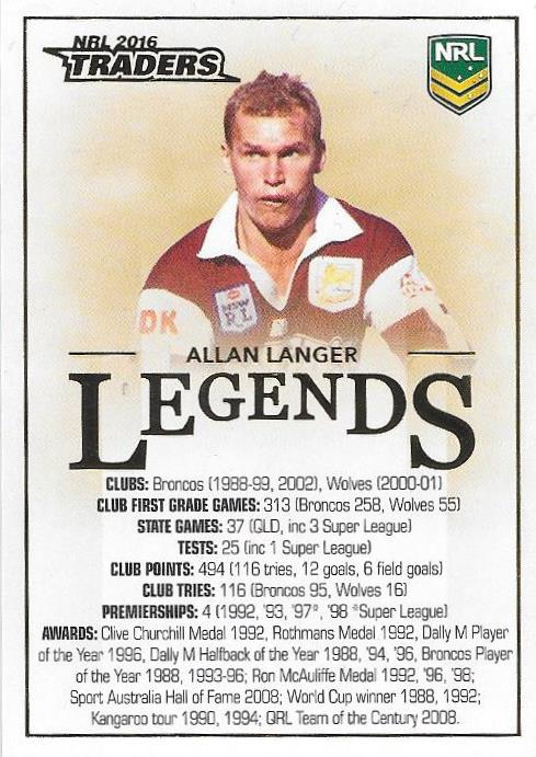 Allan Langer, Legends Case Card, 2016 ESP Traders NRL