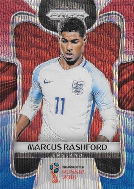 Marcus Rashford, Red & Blue Refractor, 2018 Panini Prizm World Cup Soccer