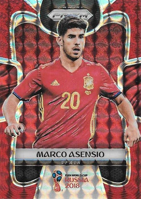Marco Asensio, Red Mosaic Refractor, 2018 Panini Prizm World Cup Soccer