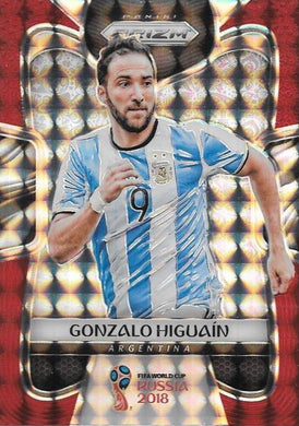 Gonzalo Higuain, Red Mosaic Refractor, 2018 Panini Prizm World Cup Soccer