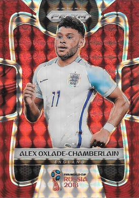 Alex Oxlade-Chamberlain, Red Mosaic Refractor, 2018 Panini Prizm World Cup Soccer