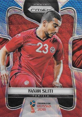 Naim Sliti, Blue & Red Refractor, 2018 Panini Prizm World Cup Soccer