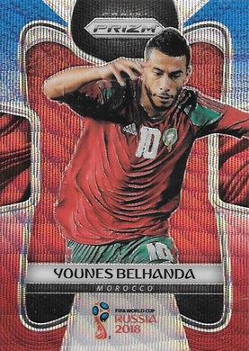 Younes Belhanda, Blue & Red Refractor, 2018 Panini Prizm World Cup Soccer