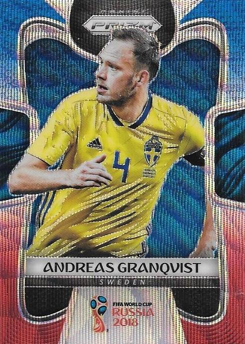 Andreas Granqvist, Blue & Red Refractor, 2018 Panini Prizm World Cup Soccer