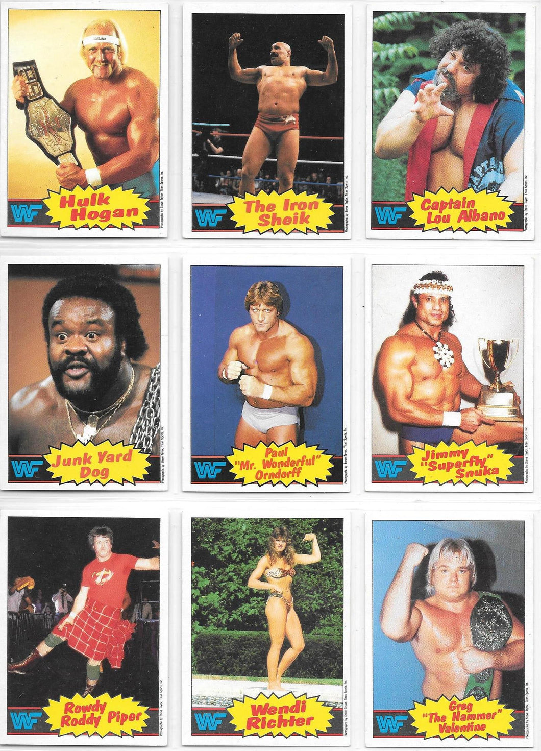 1986 Scanlens WWF Wrestling Set of 66 cards