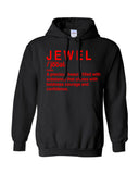 """Jewel Hoodie""- Black (Red Words)"