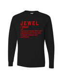 """Jewel Shirt""- Black (Red Words)"