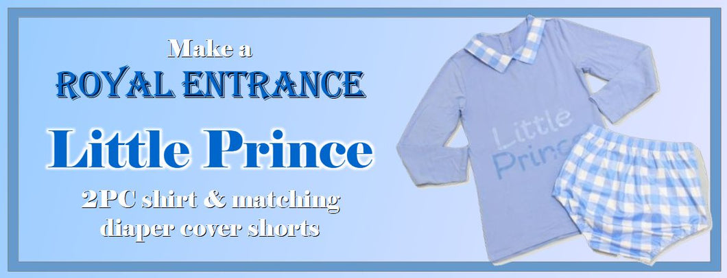 Make a royal entrance! Little Price two piece shirt and matching diaper cover shorts