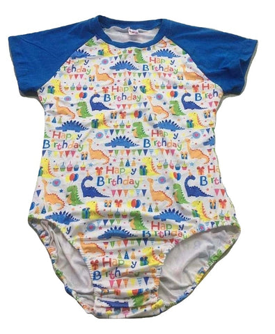 Happy Birthday Dinosaur Raglan Short Sleeve Onesie