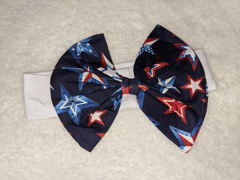 Independence Day White Red Polka Dots Bow MATCHING Boutique Fabric Hairband Headband