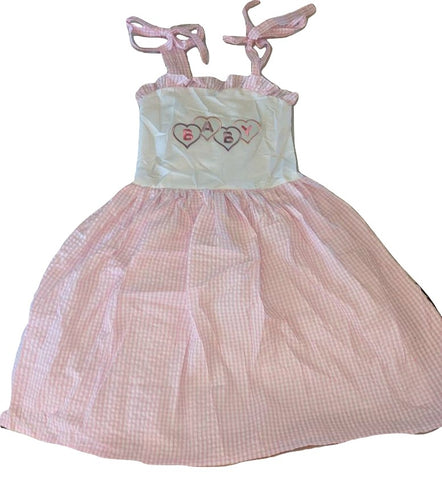 DISCONTINUED Baby Embroidered Pink/White Smock Halter Summer Dress * LOOK AT MEASUREMENT Clearance