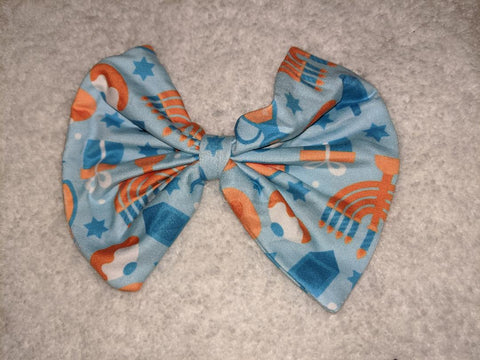 DISCONTINUED HAPPY HANUKKAH Matching Boutique Fabric Hair Bow Clearance
