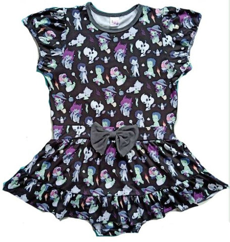 DISCONTINUED Tiny Terrors Black Romper Bodysuit Dress DESIGNED BY KEROKEROKOUHAI Clearance