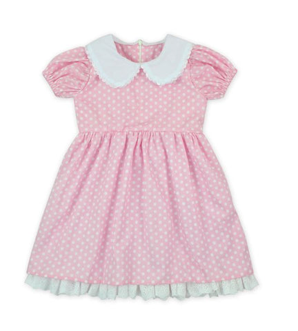 DISCONTINUED Pink & White Polka-dot BabyDoll Dress Clearance