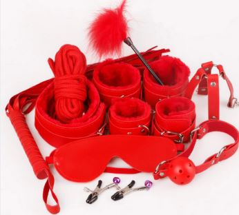 Bondage 10 pcs BDSM Starter Kit Ball Gag Cuff Collar Fetish Sex Toys Set