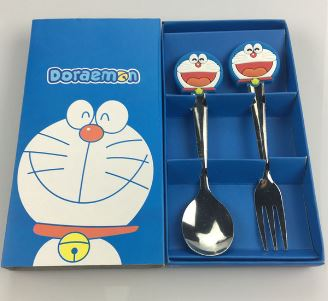 Baby Cartoon Stainless Steel Fork & Spoon Set Blue Kitty?