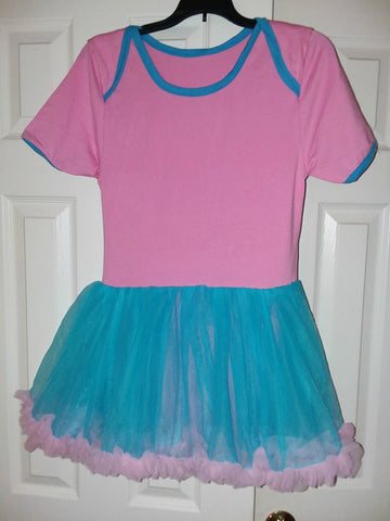 ABDL Pride Pink & Blue Adult TuTu Romper Dress X-small - (Fits more like a Small)