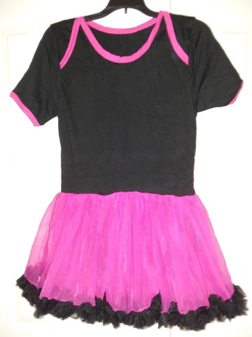 BABY PUNK PRINCESS HOT PINK & BLACK ADULT TUTU ROMPER DRESS X-small - (Fits more like a Small)