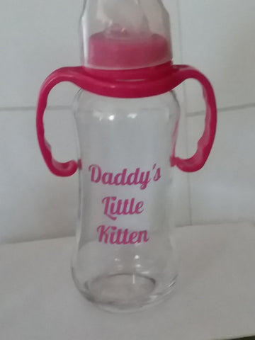 DISCONTINUED Daddy's Little Kitten 9.4 oz Glass Baby Bottle with ADULT Teat GBB125 Clearance