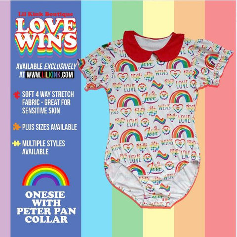 COLLAR LOVE WINS WITH PETER PAN STYLE COLLAR ONESIE