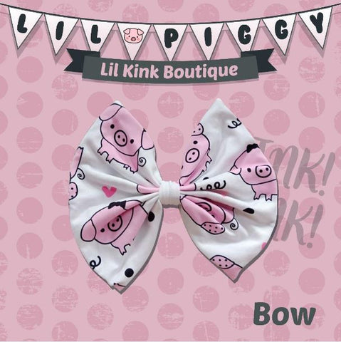 LIL PIGGY MATCHING Boutique Fabric Hair Bow FHB144