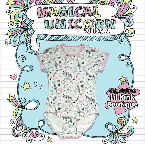 Short Sleeve Magical Unicorn Onesie size xxs - 3x* New Size Chart