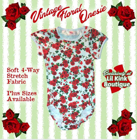 ONESIE DISCONTINUED Short Sleeve VINTAGE FLORAL Onesie Clearance