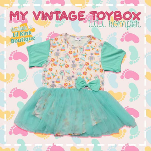 DISCONTINUED My Vintage Toy Box Tutu Romper Dress CLEARANCE xxs - xs only