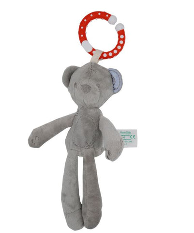 Bear Rattle 1Pc Binkie Buddy Soother Pacifier Clip grey S binkie buddies