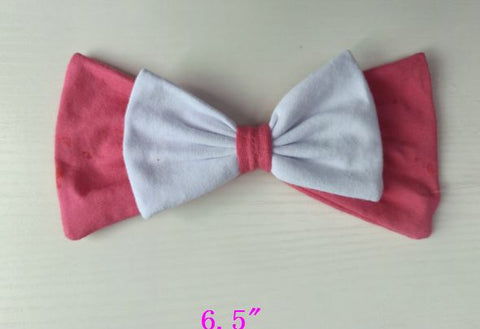 HairBow Discontinued PINK AND WHITE PRINCESS PRINCESS MATCHING Boutique Fabric Hair Bow Clearance
