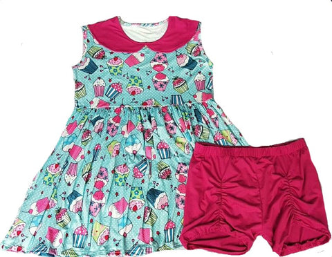 DISCONTINUED My Lil Cupcake 2pc Dress & Matching Shorts Outfits Clearance