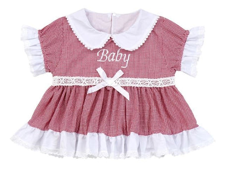 Dress DISCONTINUED Embroidered Baby Seersucker Red & White Dress Clearance