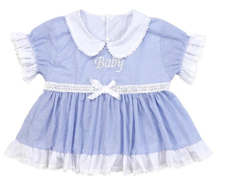 DISCONTINUED Embroidered Baby Seersucker Blue & White Dress Clearance
