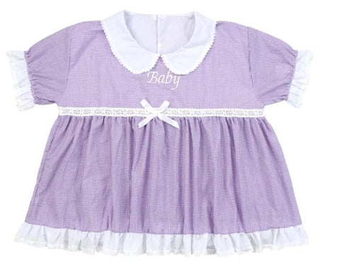 DISCONTINUED Embroidered Baby Seersucker Purple & White Dress Clearance