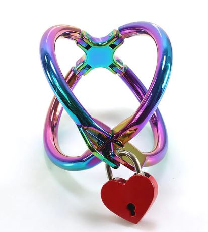 1 Pair Cross Handcuffs Metal Wrist Bondage Restraints with lock Rainbow