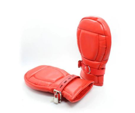 Faux Leather soft and flexible lockable Mittens BDSM Bondage Red