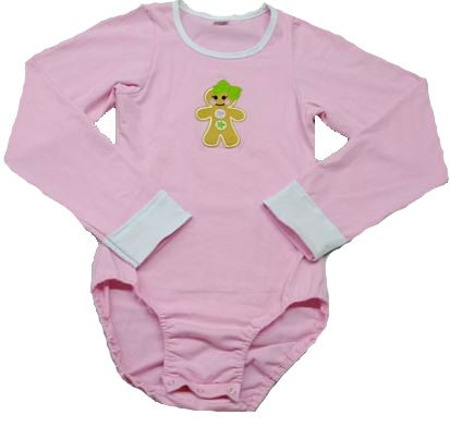 DISCONTINUED Long Sleeve Lil Gingerbread Girl Pink Onesie Clearance