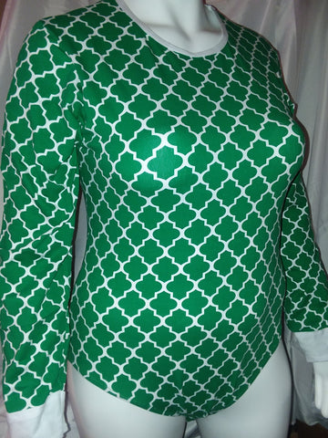 DISCONTINUED Long Sleeve Lil Moroccan Green Onesie size xs-4x * New Size Chart Clearance